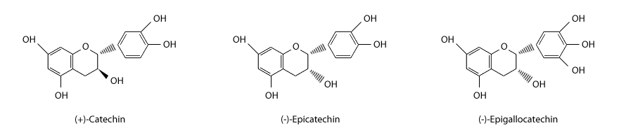 Structures of the major flavan-3-ols identified in grape seed extract.